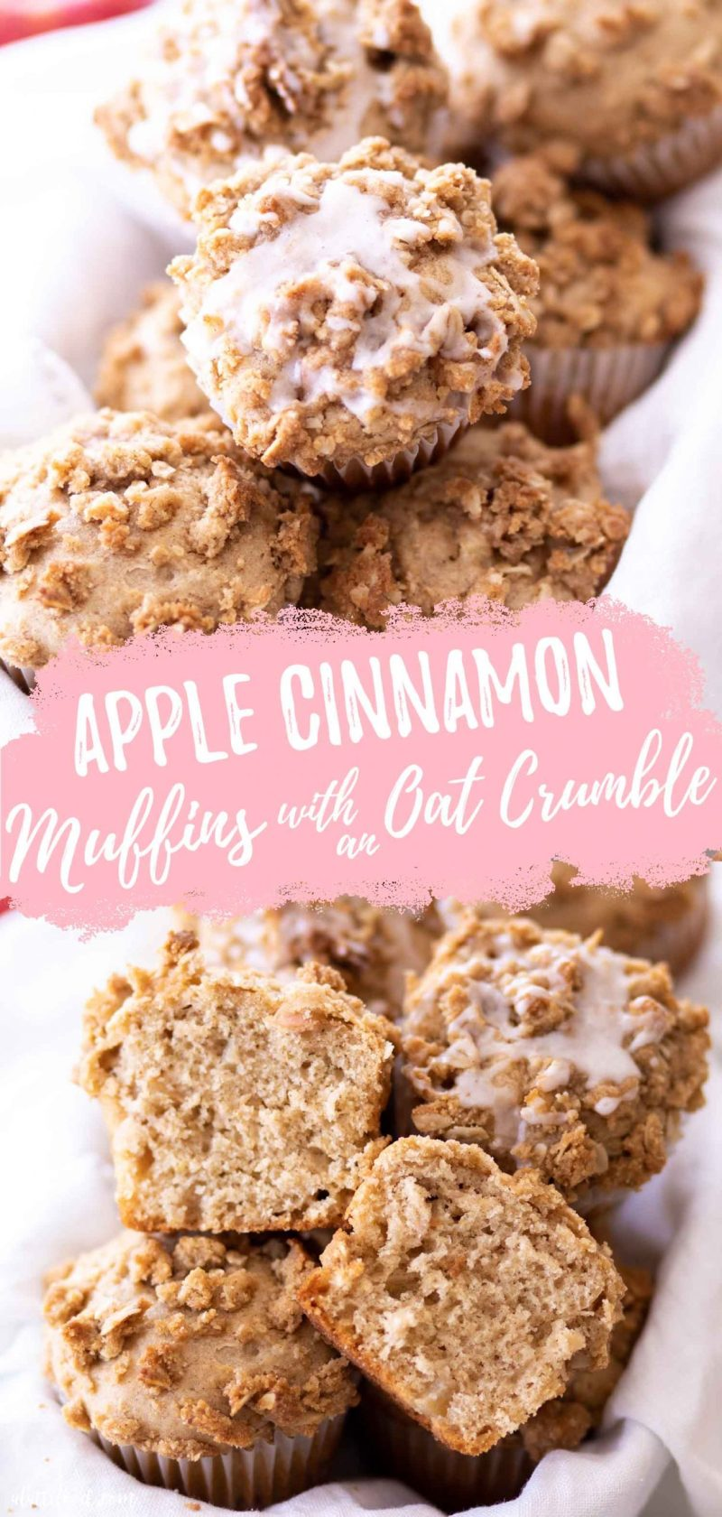 my favorite glazed apple cinnamon muffins with crumb topping