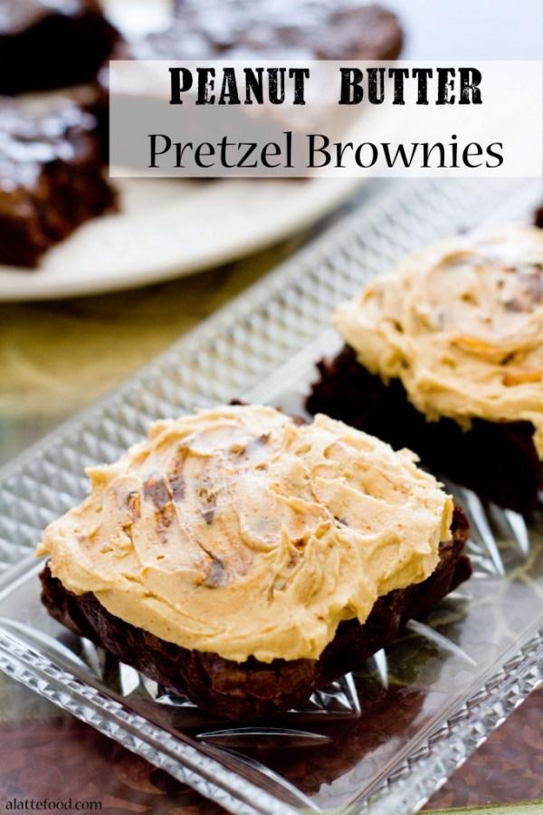 Peanut Butter Pretzel Brownies | A Latte Food