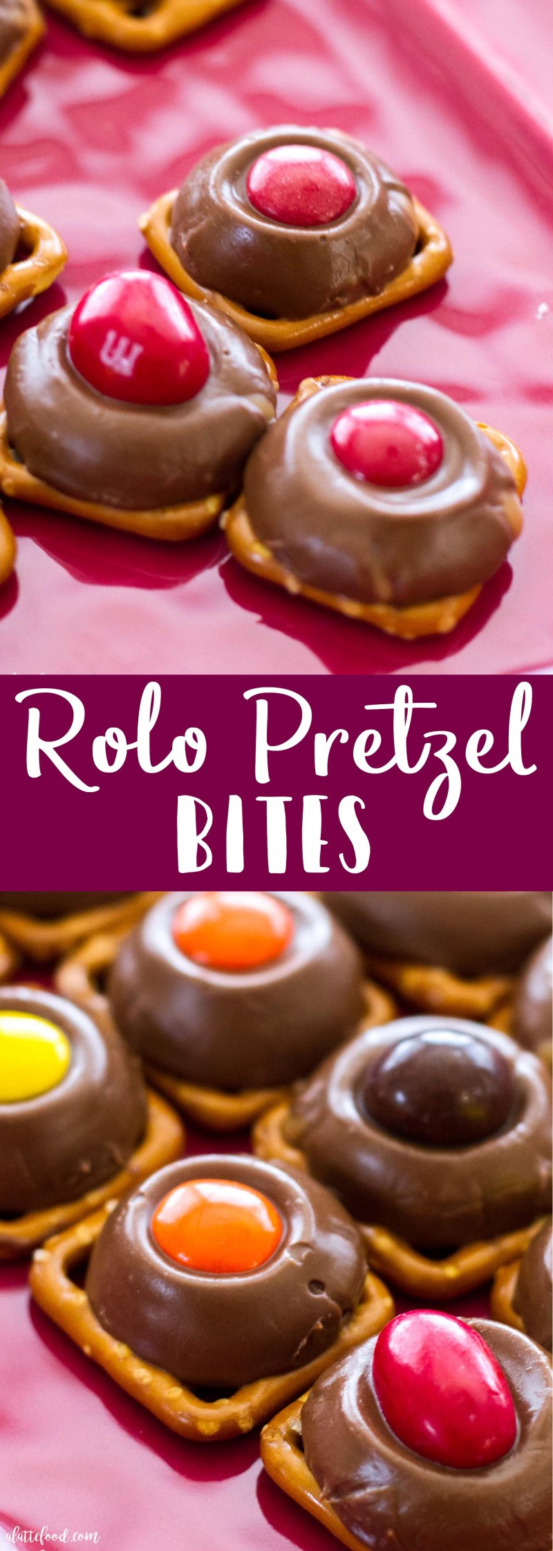 This super easy dessert recipe only takes 5-minutes to make! Rolos are baked on pretzels and topped with m&ms. They are sweet, simple, and completely addictive!