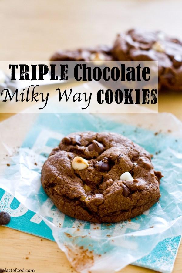 Triple Chocolate Milky Way Cookies | A Latte Food