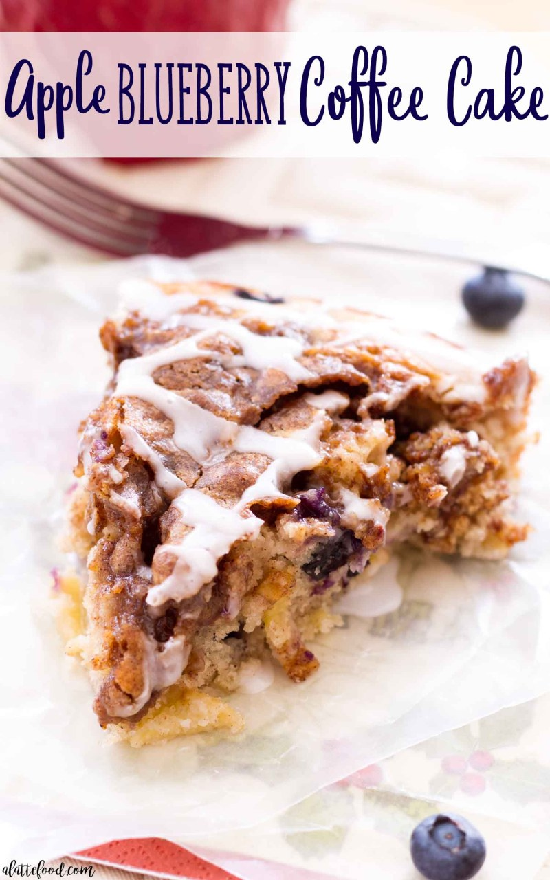 Easy apple coffee cake with blueberries and a brown sugar topping!