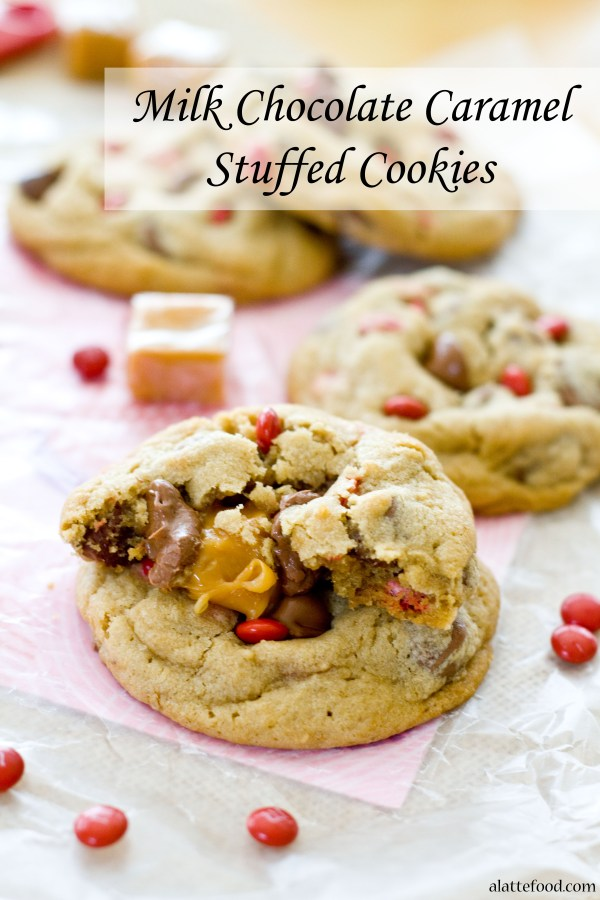 Milk Chocolate Chip Caramel Stuffed Cookies | A Latte Food