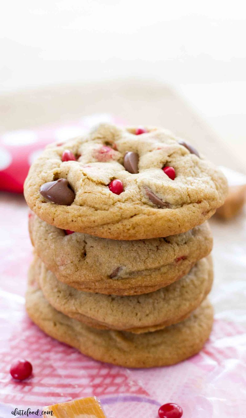There's nothing more perfect than a stack of caramel milk chocolate chip cookies!