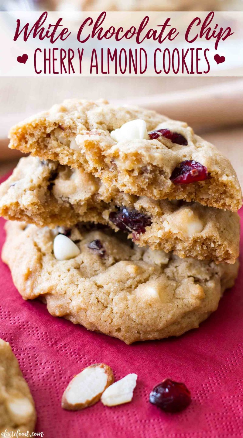 Thick and Chewy White Chocolate Cherry Almond Cookies recipe is easy and comes together in under an hour!