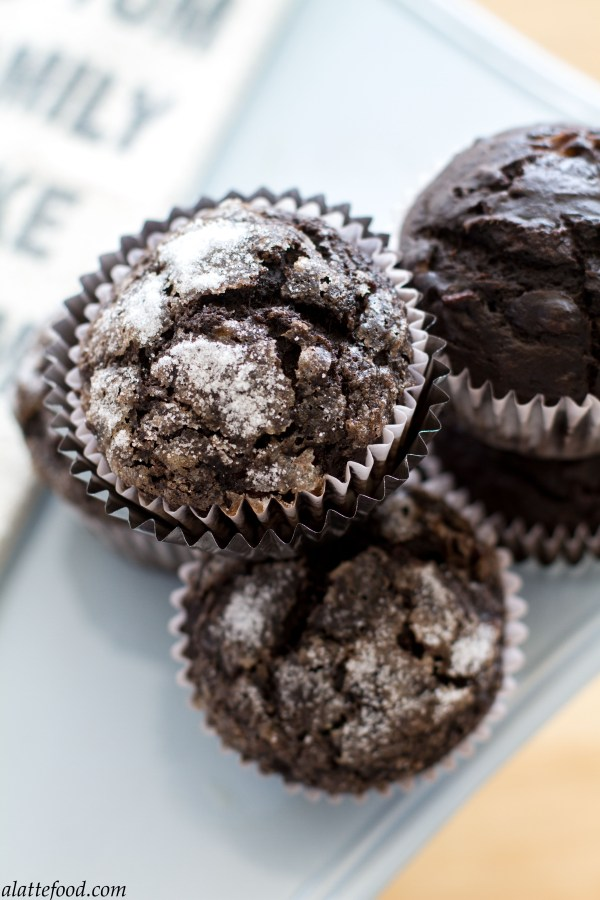 Dark Chocolate Banana Muffins | A Latte Food