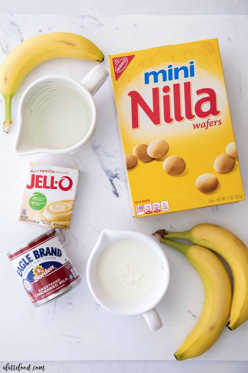 banana pudding ingredients on a marble board