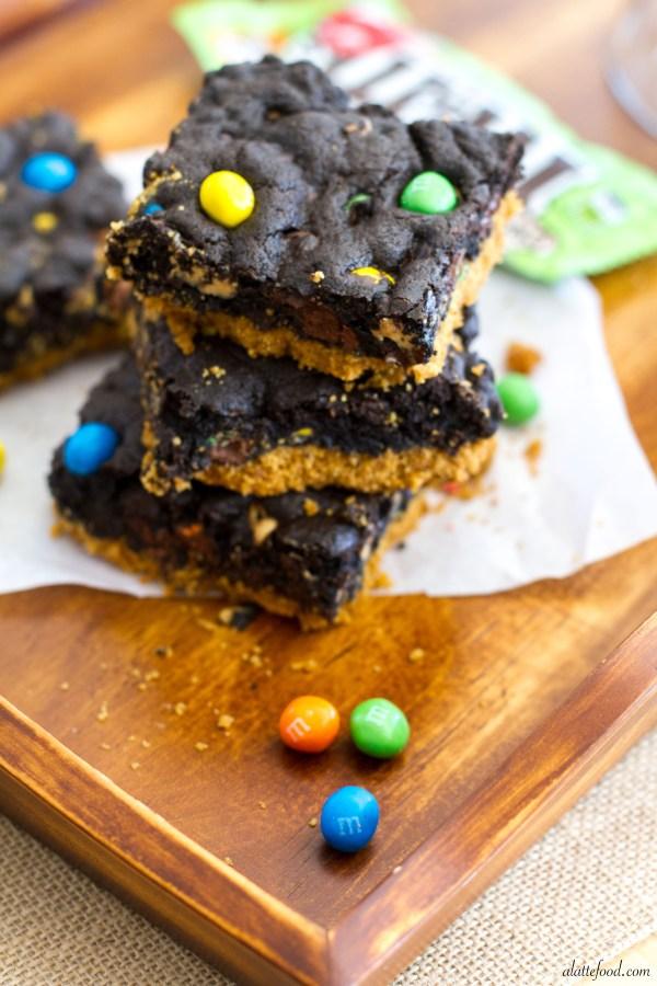 M&M's® Crispy Double Chocolate Peanut Butter Chip Cookie Bars | A Latte Food