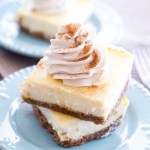 Vanilla Cheesecake Bars with Chai Whipped Cream | A Latte Food