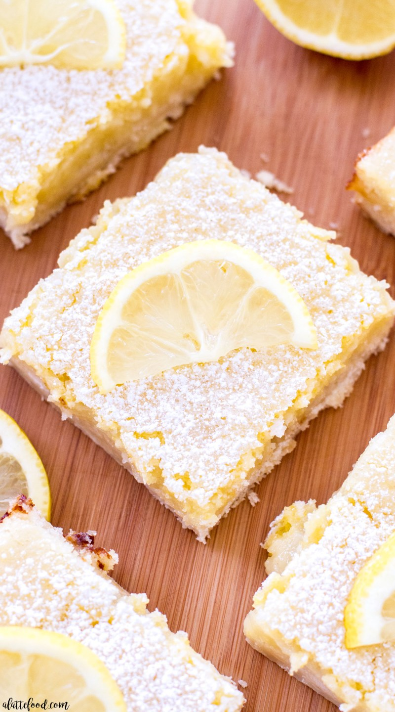 classic lemon bar squares with powdered sugar