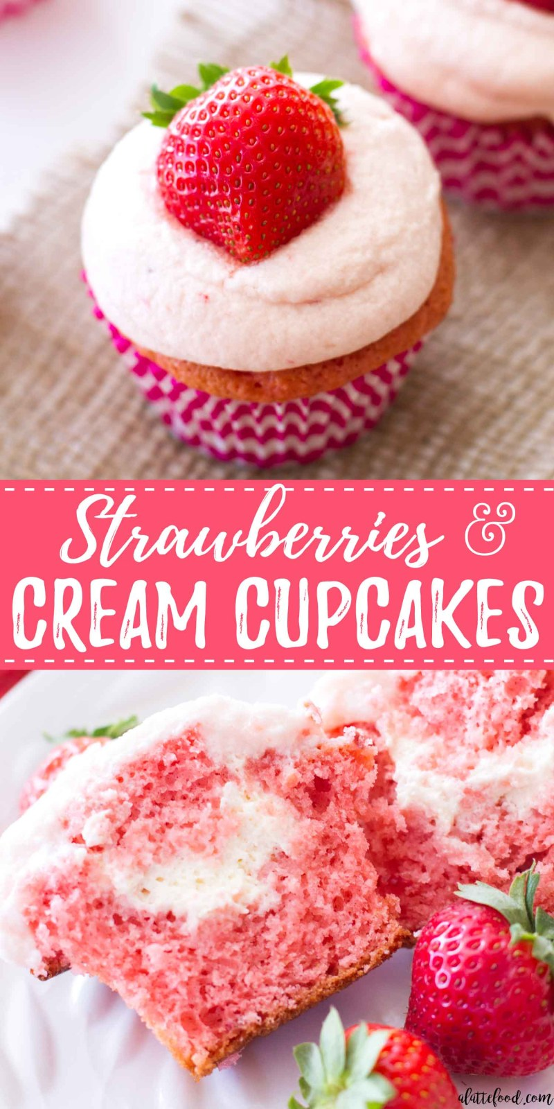 These easy strawberry cupcakes are filled with homemade whipped cream and topped with homemade fresh strawberry frosting! These pretty in pink cupcakes would make the best Valentine's Day dessert, spring dessert, or summer dessert! These strawberries and cream cupcakes begin with a box of white cake mix and strawberry gelatin, making them incredibly simple and entirely flavorful! how to make strawberry cupcakes, homemade strawberry cupcake recipe