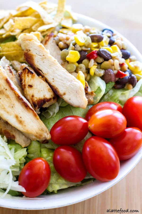 This flavorful salad is packed with the works: Tyson Grilled & Ready Chicken Strips, Birds Eye Southwestern Protein Blends, pepper jack cheese, avocado, tortilla strips, tomatoes, and barbecue sauce. Quick, easy, and oh-so-delish!| www.alattefood.com