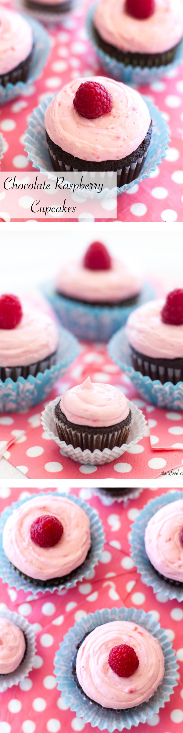 These rich chocolate cupcakes are filled with an easy chocolate mousse and topped with a fresh raspberry buttercream!   www.alattefood.com