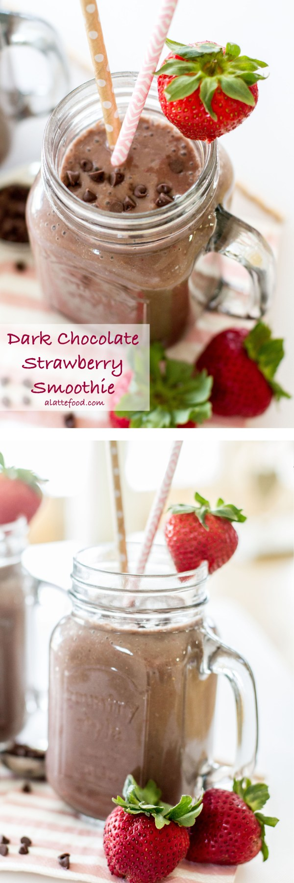 This fruity smoothie tastes like a chocolate dipped strawberry! | www.alattefood.com