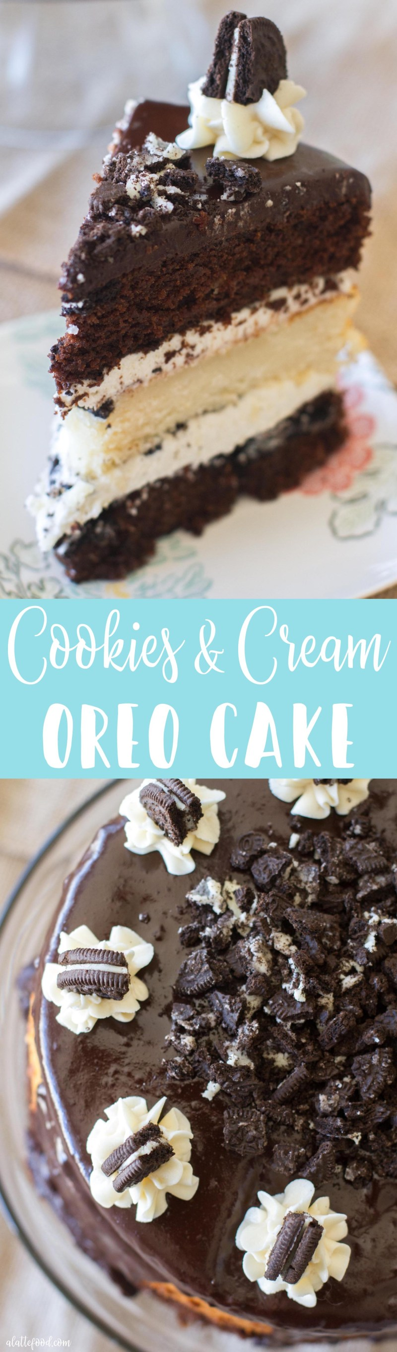 {Triple Layer} Cookies and Cream Oreo Cake: Layers of chocolate and vanilla cake are filled with vanilla frosting, crushed Oreos, and topped with a chocolate ganache. Oh, and each layer has Oreos baked right in. Whoa.