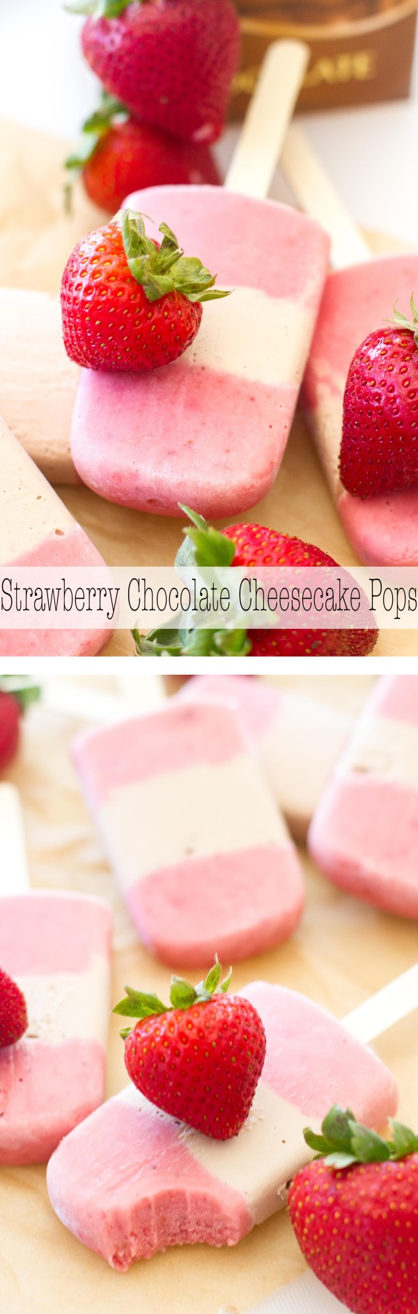 Only five-ingredients stand between you and these delicious (and light!) strawberry cheesecake pops! | www.alattefood.com