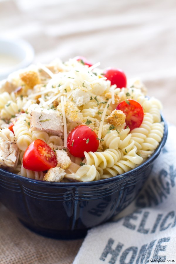 This one-pot chicken caesar pasta is rich, creamy, and can be made in 15 minutes! It's pure comfort food.