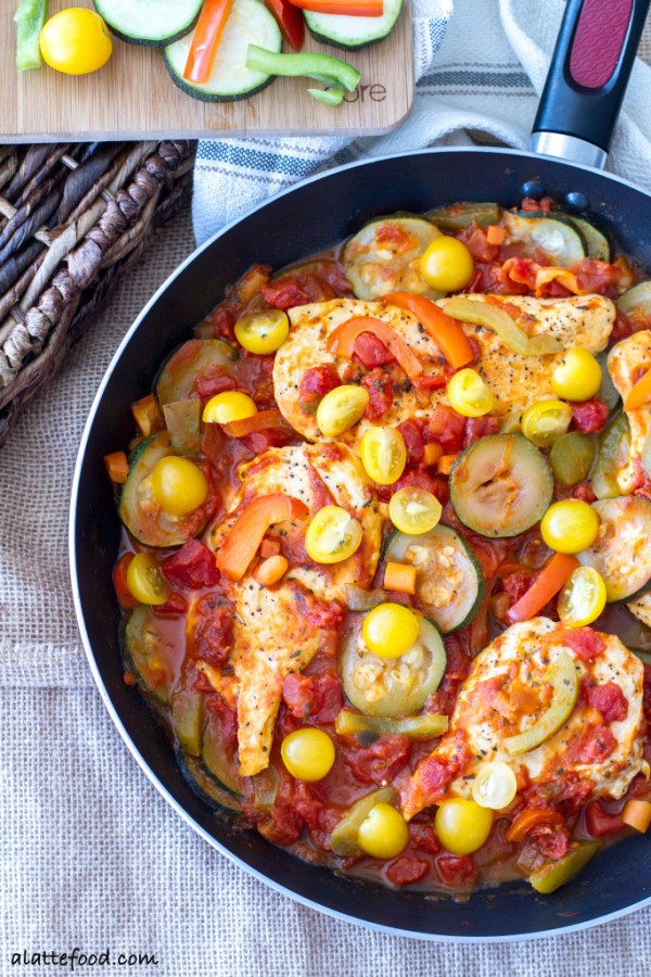 This easy chicken cacciatore is made in one pan in 30-minutes! Dinner has never been easier.