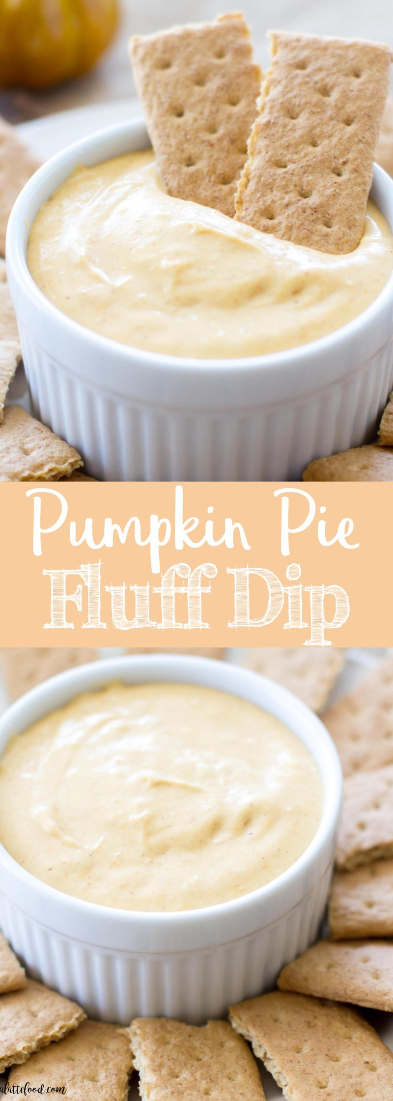 This Pumpkin Pie Fluff Dip is a sweet dessert dip tastes like pumpkin pie cheesecake! Made with real pumpkin puree, marshmallow fluff, and cream cheese, this dip is an easy Thanksgiving appetizer or Thanksgiving dessert!