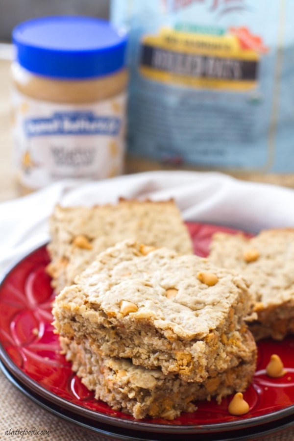 These oatmeal cookie bars are made with maple peanut butter and butterscotch chips to make an irresistible dessert!