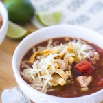 This simple 30-minute chicken tortilla soup uses both Hunt's and RO*TEL tomatoes to make a comforting, flavorful soup that's perfect for fall!
