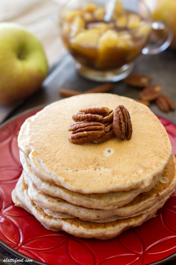 These pecan pie pancakes are filled with all the flavors of fall and topped with a homemade apple cinnamon syrup!