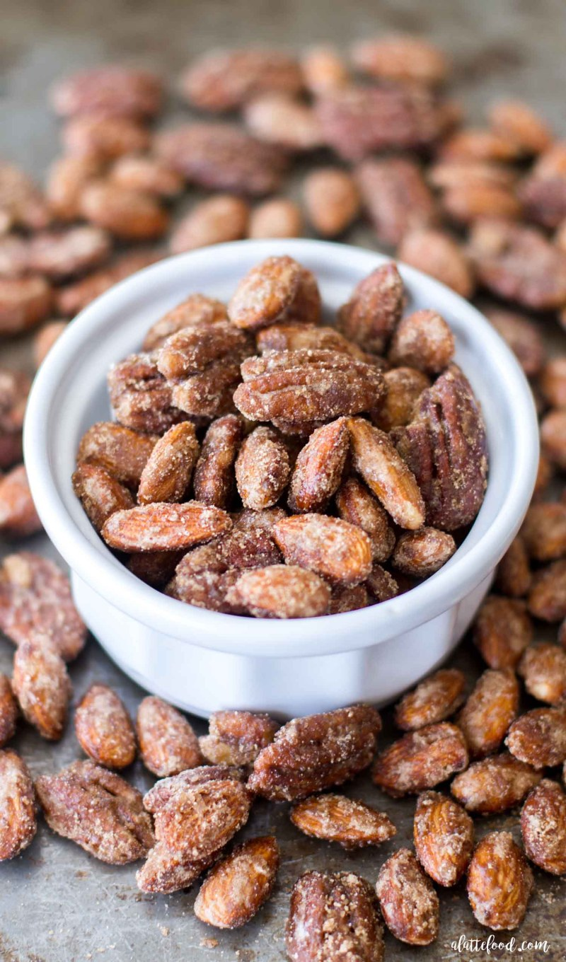 spiced candied nuts in white bowl