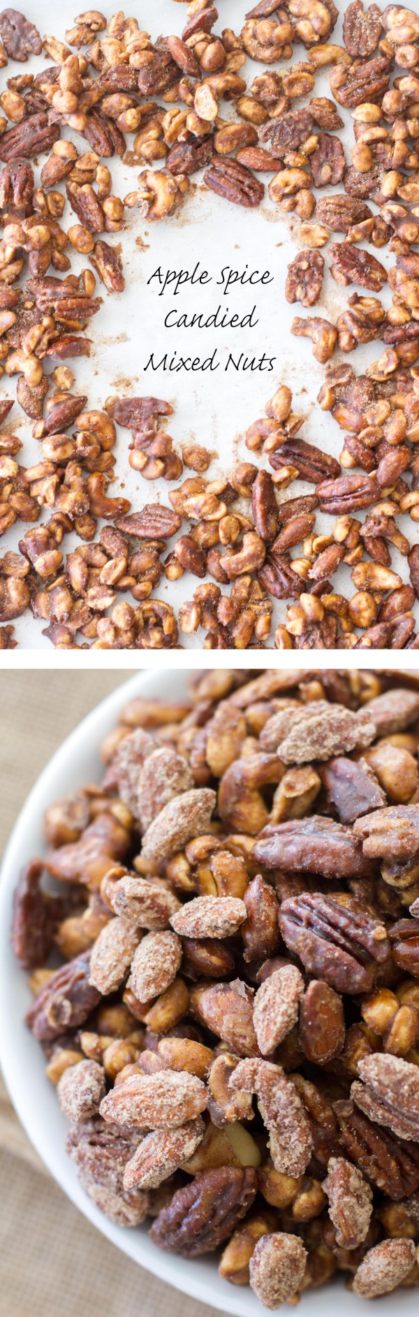 These sugared almonds, cashews, and pecans are filled with sweet apple spice and brown sugar flavor!  The perfect holiday party snack!