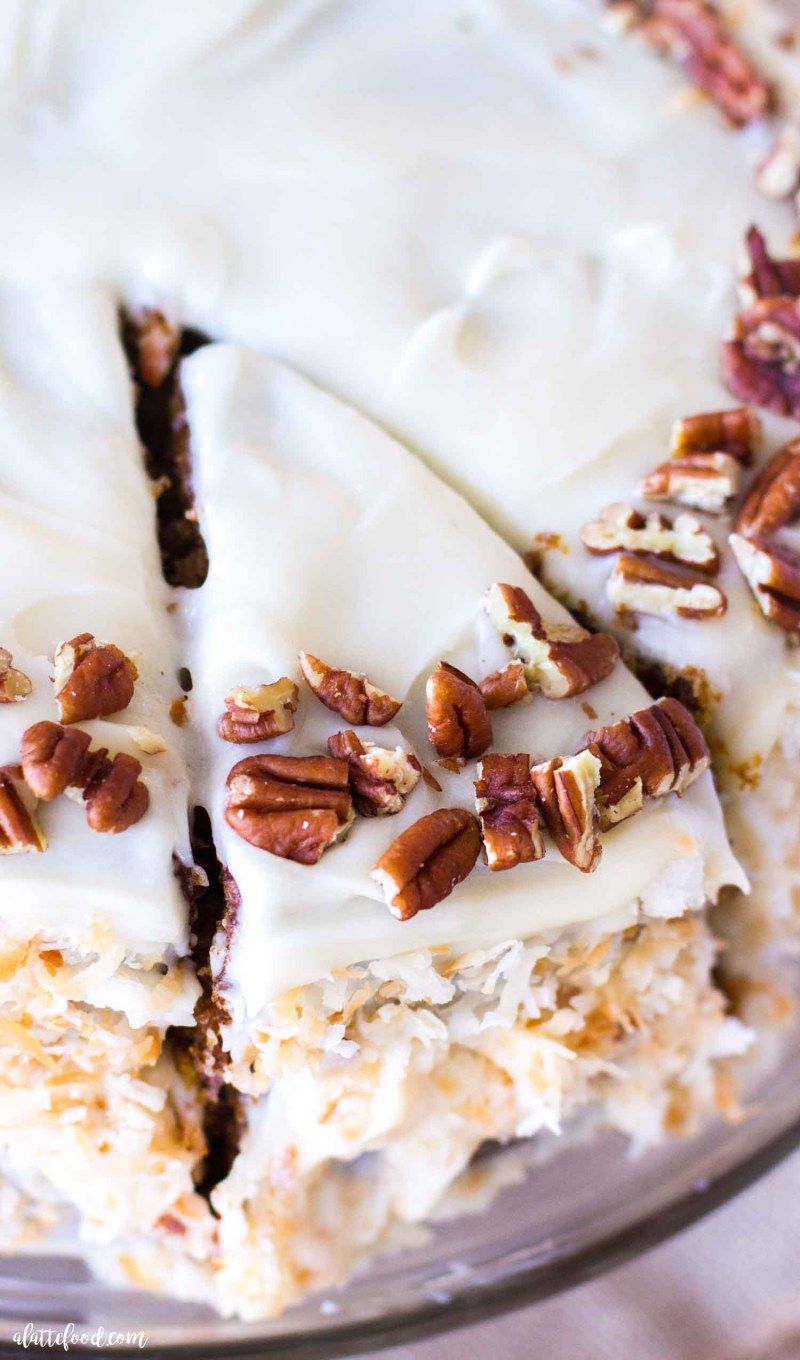 carrot spice cake with pecans and coconut