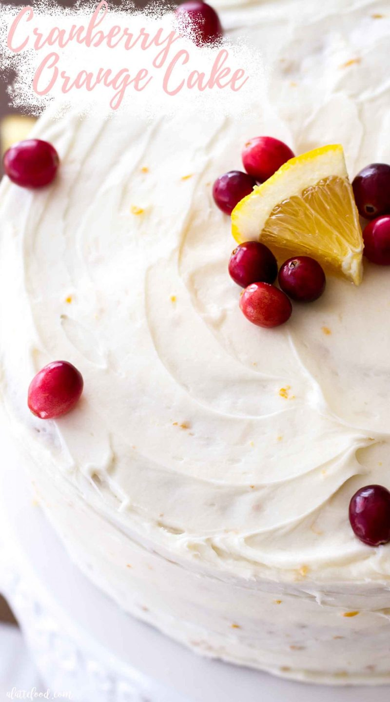cranberry orange cake with orange cream cheese frosting