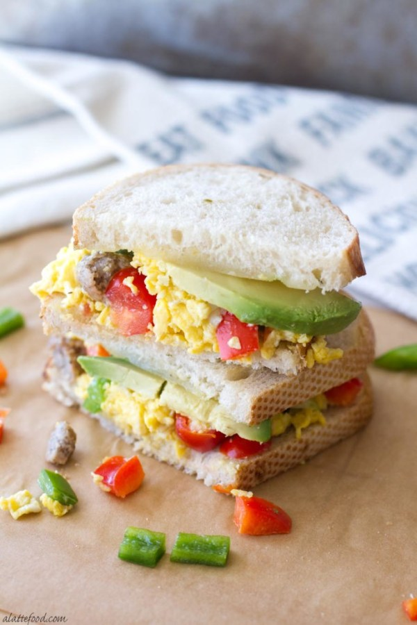 This hearty breakfast sandwich is made with San Luis Sourdough® Bread, scrambled eggs, bell peppers, pepper jack cheese, sausage, and avocado! It's an easy breakfast recipe that will stick with you all morning!