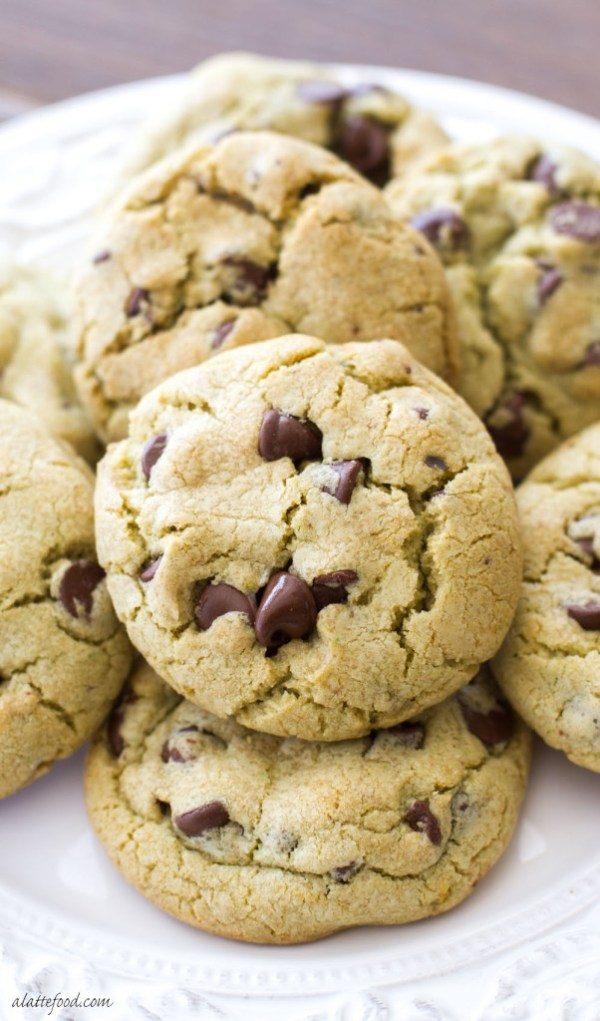 These soft and chewy pistachio pudding chocolate chip cookies are a fun twist on the classic chocolate chip cookie recipe! | www.alattefood.com