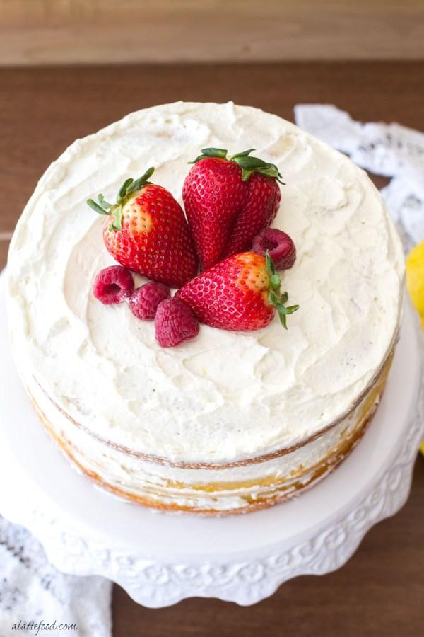 Berry Vanilla Naked Cake with Lemon Whipped Cream