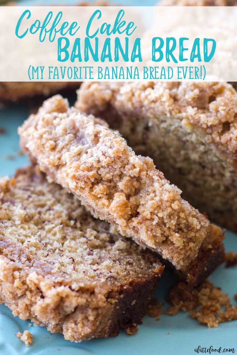 coffee cake banana bread slice with text