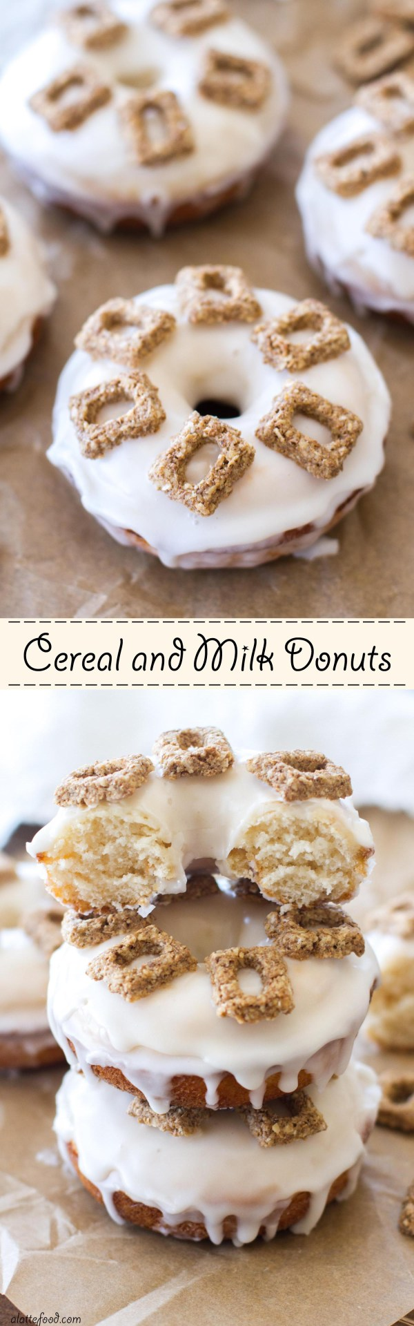 This baked buttermilk donut recipe is based on the classic breakfast choice of cereal and milk! A buttermilk donut dipped in a vanilla glaze and topped with pieces of cereal makes this a sweet breakfast treat!