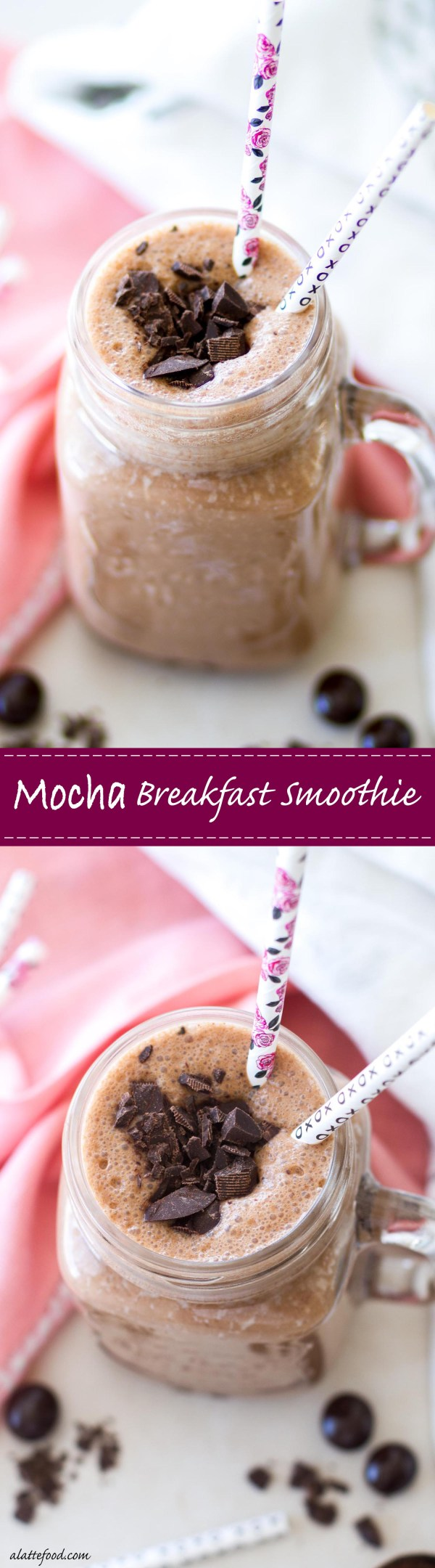This mocha breakfast smoothie combines your morning coffee and breakfast together in an on-the-go smoothie!
