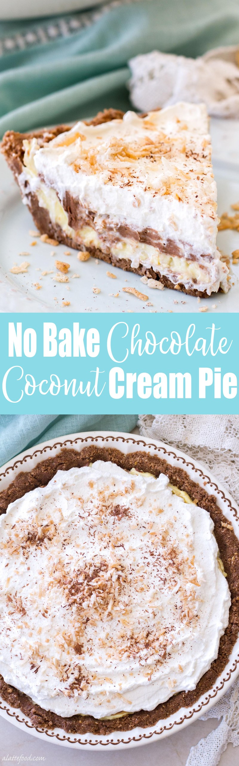This easy, no-bake chocolate coconut cream pie recipe is the perfect summer dessert! Whipped cream, chocolate cream, and coconut cream are layered on top of a Keebler cookie crust! It's glorious. coconut cream pie, chocolate cream pie, homemade coconut cream pie