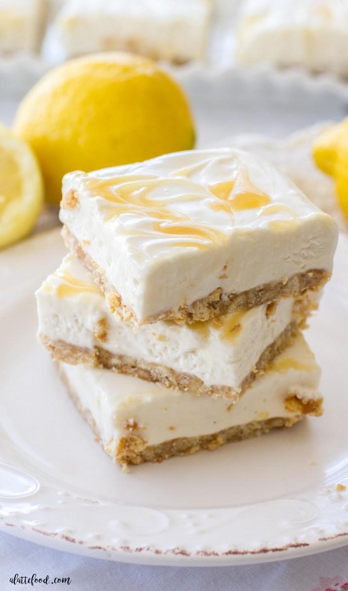 Lighter No Bake Lemon Cheesecake Bars
