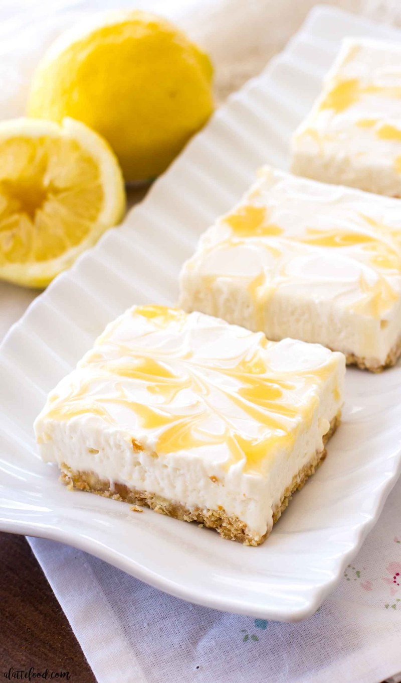 no bake cheesecake bars with lemon curd