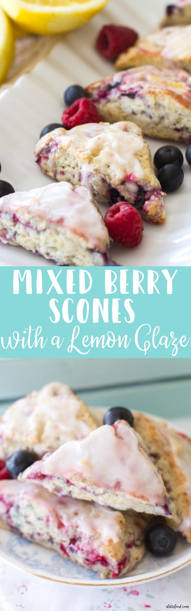 These mini mixed berry scones are full of blueberries and raspberries and drizzled with a sweet lemon glaze. A simple and elegant breakfast, brunch, or dessert! And, ready for any 4th of July party!