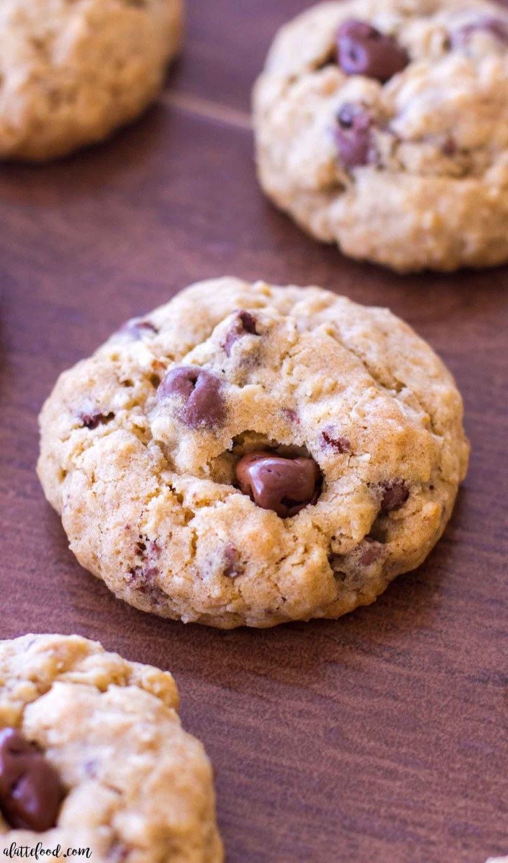 oatmeal chocolate covered raisin cookies on wood