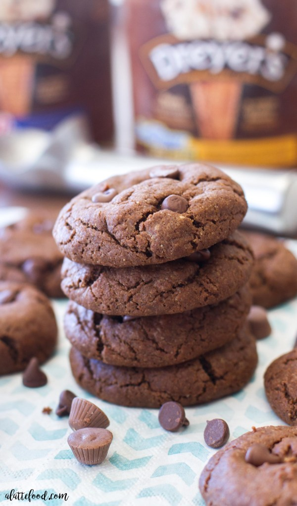 These double chocolate cookies are loaded with peanut butter, peanut butter chips, and chocolate chips. If that isn't enough, they're also stuffed with chocolate caramels.