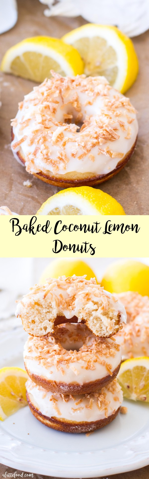 These easy lemon donuts are baked in the oven and topped with a lemon glaze and toasted coconut for a sweet breakfast treat!