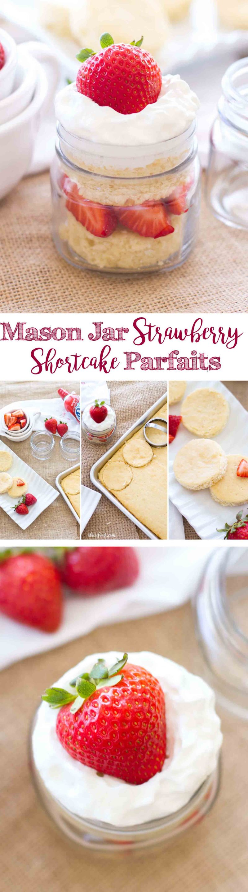 These homemade Mason Jar Strawberry Shortcake Parfaits are cute, portable, and the perfect summer dessert! This easy summer dessert recipe is made with homemade shortcake, fresh strawberries, and whipped cream (homemade whipped cream or store-bought is fine). These cute strawberry shortcakes are a family favorite!