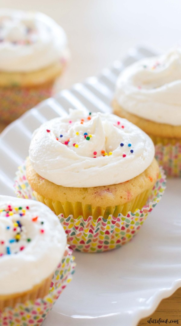These homemade funfetti cupcakes are light, fluffy, and full of sweet vanilla flavor! The vanilla buttercream on top is rich, smooth, and so easy to put together!