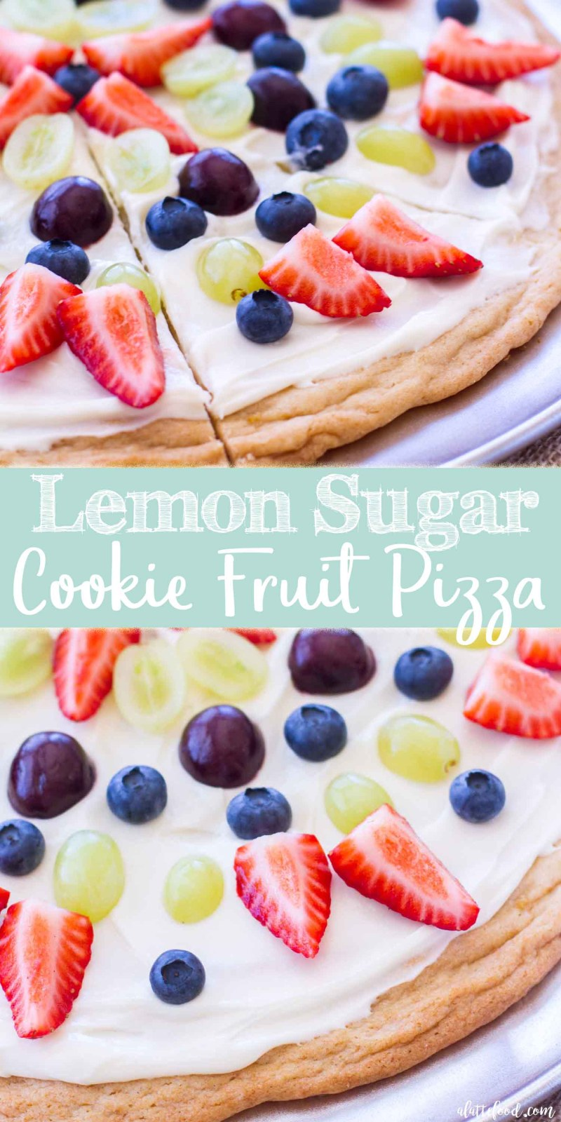 This easy Lemon Sugar Cookie Fruit Pizza recipe is made with a sugar cookie mix (although you could easily make it with homemade sugar cookie dough), topped with a creamy marshmallow frosting, and layered with fresh fruit! This easy summer dessert pizza is a perfect dessert recipe for summer picnics, holidays, and parties!  easy sugar cookie pizza, dessert pizza recipe