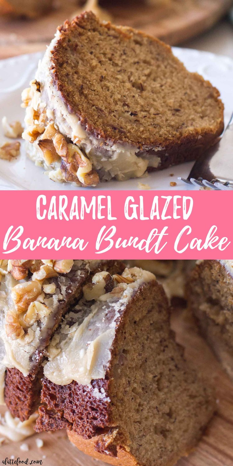 caramel banana bundt cake collage photo with text