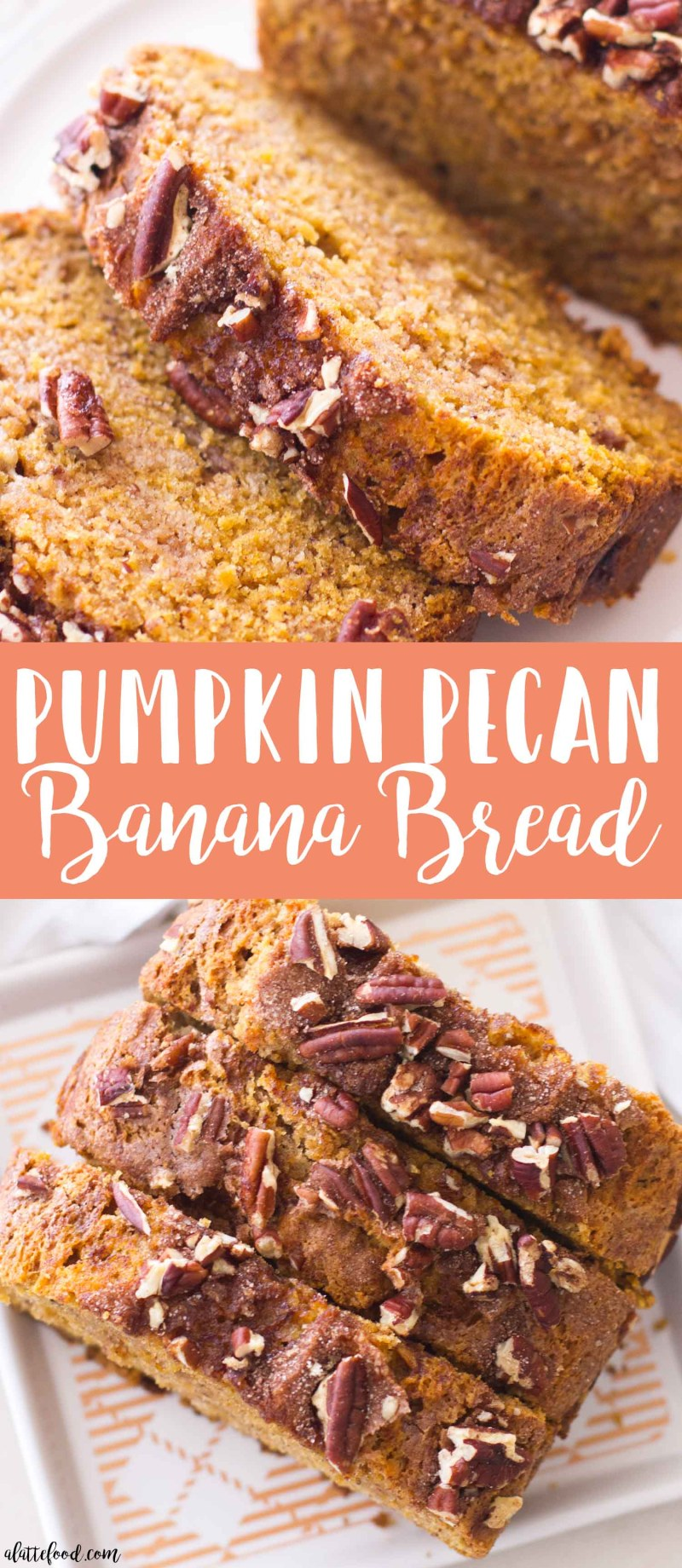 This easy Pumpkin Pecan Banana Bread recipe is one of my favorite fall dessert recipes! A sweet homemade banana bread is crossed with moist pumpkin bread (and topped with cinnamon sugar and crushed pecans) to make a perfectly spiced pumpkin banana bread!easy pumpkin bread, homemade pumpkin banana bread, best banana pumpkin bread