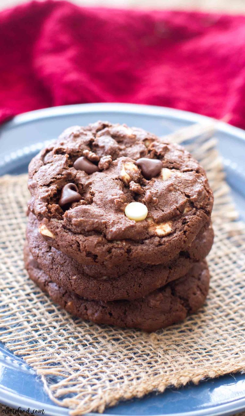 These easy Double Chocolate Chip Crunch Cookies are full of white chocolate chips, semi-sweet chocolate chips, and Nestle chocolate crunch bits! Rich and fudgy, these chewy double chocolate chip cookies are kind of to die for.
