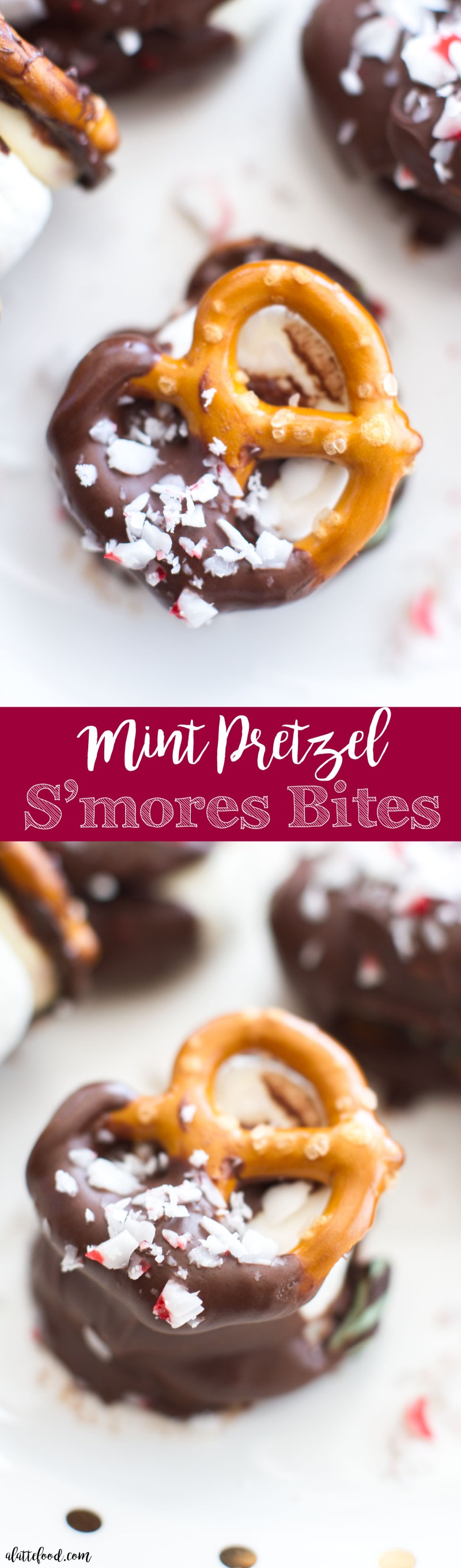 These easy mint pretzel s'mores bites are such a fun Christmas dessert! A gooey marshmallow is sandwiched between two pretzels and a piece of mint chocolate. To make these mint s'mores bites even more decadent, they are dipped in chocolate and sprinkled with crushed peppermints!  Plus, a step-by-step video below!