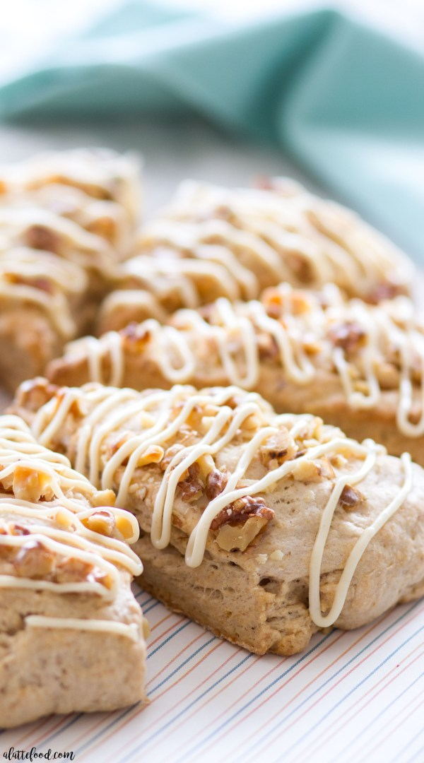 These easy banana bread scones are naturally sweetened with maple syrup (refined sugar-free). This banana bread scone recipe is light, full of flavor, and topped with a naturally sweetened maple cream cheese frosting!